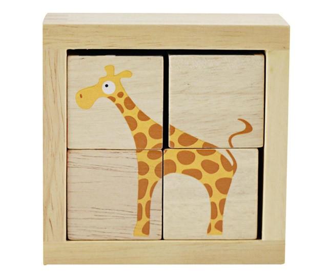 again农场动物木质小方块拼图4块