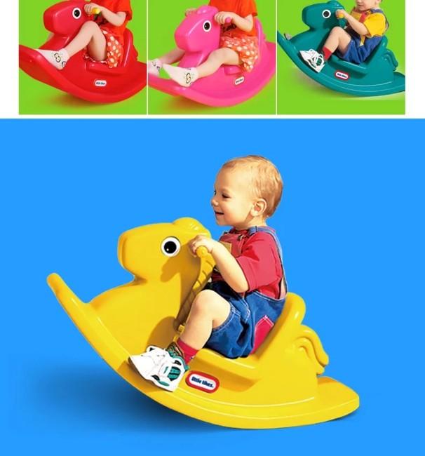 适用于1~3岁 可爱的小马造型,可前后摇摆,高靠背及易于小朋友抓握的